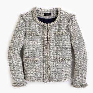 JCREW Lady Jacket Metallic Tweed NWT 8 Silver Wht